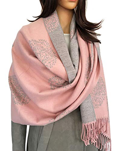 Women Tree Life Blanket Scarf - Winter Scarfs, Reversible Pashmina Shawl, Women's Scarves And Wraps, Ladies Scarf Thick Blanket, Warm Scarf Big Large Wrap, Tree Of Life Womens (Cashmere Light Pink)