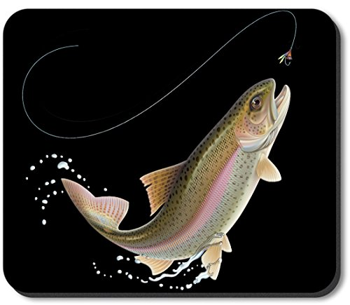 Art Plates Brand Mouse Pad - Leaping Fish (Black)