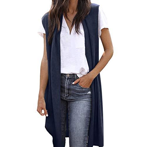 FRAUIT Damen Damen Cardigan Ärmellos Wollmantel Lange Wool Coat Kimono Strickjacke