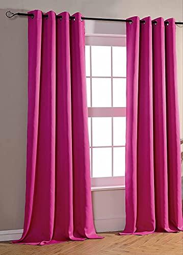 Nuance Paris - Cortina opaca de 1 panel con ojales metálicos, gran ventana para salón o dormitorio, 140 x 260 cm, color fucsia