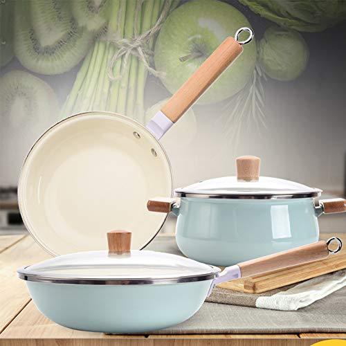 EOVL Juego de utensilios de cocina de 3 piezas con mango de madera, tapa, sartén antiadherente de esmalte de hierro fino, apto para cocinas de inducción de gas, fácil de limpiar Olla Verdura