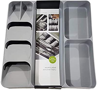 Faridabio Kitchen Drawer Cutlery Organizer - Multifunction Large Space Saving Tray for Flatware and Silverware, Gray