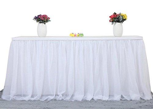 Tüll-Tischrock L 274,8 cm H 76,2 cm Tischdekoration für rechteckige oder runde Tische für Geburtstagsparty, Babyparty, Hochzeitsparty und tägliche Heimdekorationen 108in*30in weiß