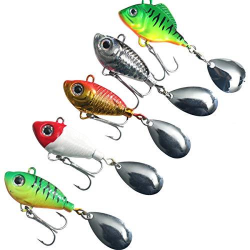 UNCTAD 5 Piezas Señuelos de Pesca con Gancho Impermeable - Ojo de pez Realista en 3D - diseño aerodinámico Señuelo de Pesca - para Agua Dulce, lubina Salada, Trucha, pez Gato, salmón, etc