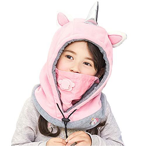 TRIWONDER Pasamontañas para niños Máscara de la Cara Fleece Máscara de esquí Cuello Calentador de Nariz Calentador de la Cara Invierno Animal Hood Hat para niños niñas (Rosa - Unicornio)