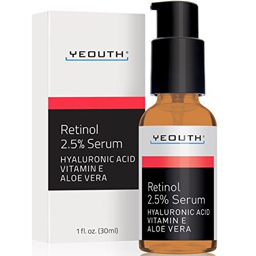 Retinol Serum 2.5% with Hyaluronic Acid, Aloe Vera, Vitamin E - Boost Collagen Production, Reduce Wrinkles, Fine Lines, Even Skin Tone, Age Spots, Sun Spots - 1 fl oz - Yeouth