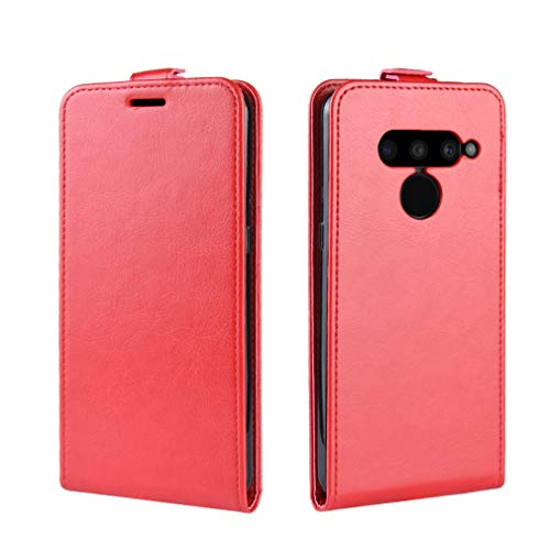 LMFULM® Hülle für LG V50 ThinQ 5G (6,4 Zoll) PU Leder Magnet Brieftasche Lederhülle Handytasche Up-Down-Flip Design Stent-Funktion Ledertasche Cover für LG V50 ThinQ 5G Rot