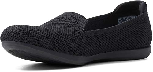 Clarks womens Carly Dream Loafer, Black Solid Knit, 9 Wide US