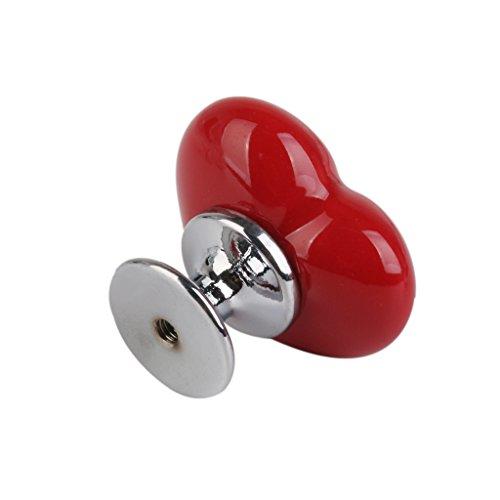 Maniglie Pomelli Cuore Per Cassetti Porta Ceramica Manopola Abbellimento Per Casa Cucina Soggiorno - Rosso, S