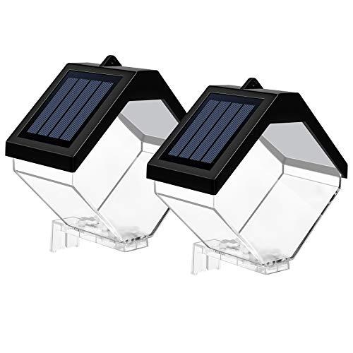 EDISLIVE Solarleuchten für den Außenbereich, wasserdicht, LED Zaun, Solarenergie, dekorative Wandleuchte für Wintergarten (2 Stück)