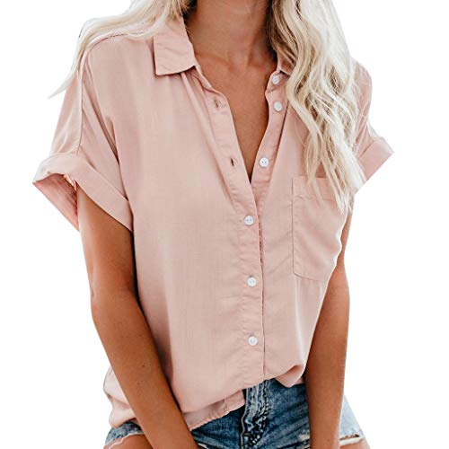TOTOD Women Striped Blouses Ladies Casual V Neck Cuffed Short Sleeve Button Down Tee Shirts(Pink,S)