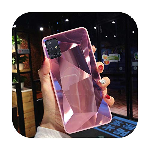 Phonecase For Samsung Galaxy A51 Case 3D Diamond Prism Holographic Laser Phone Case For Samsung Galaxy A71 Sm A515F A717F A 51 71 Cover-Pink-For Samsung A51