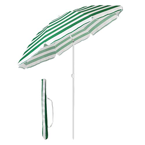 Sekey® Parasol Ø 160 cm inclinable pour Patio Jardin Balcon Piscine Plage Rond Sunscreen UV20+ (Rayures Vertes Blanches)