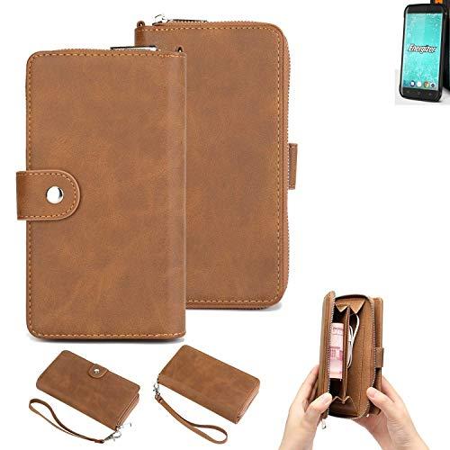 K-S-Trade® Handy-Schutz-Hülle Für Energizer H550S Portemonnee Tasche Wallet-Case Bookstyle-Etui Braun (1x)