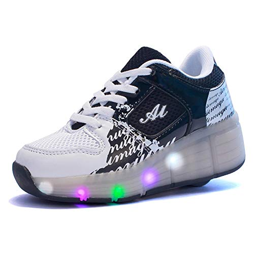 qyy Led Light Roller Skate Sneakers with Wheels for Boys Girl Luminous Light up Wheelies Shoes Skateboarding Shoes Wheel Shoes for Outdoor Sports The Best Gift Black-USA 8.5