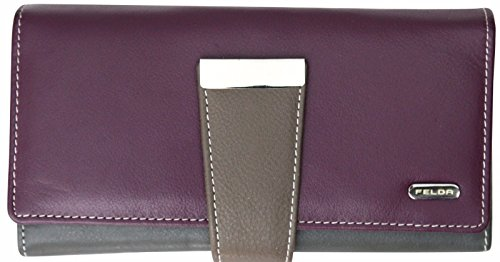 Damen Geldbörse mit 24 Fächern & RFID-Blocker - aus Echtleder - großes Fassungsvermögen - Lila Mehrfarbig