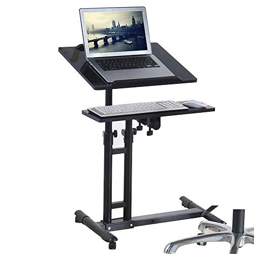 N/Z Living Equipment Desktop Stand Laptop Table Multi functional Mobile With Keyboard Mobile Writing Solid Made Chrome Frame Workbench (color : BLACK)