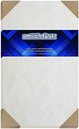 100 Light Gray Parchment 60# Text (=24# Bond) Paper Sheets - 8.5 X 14 inches Stationery Paper Colored Sheets Legal Size - 60 Pound is Not Card Weight - Vintage Colored Old Parchment Semblance