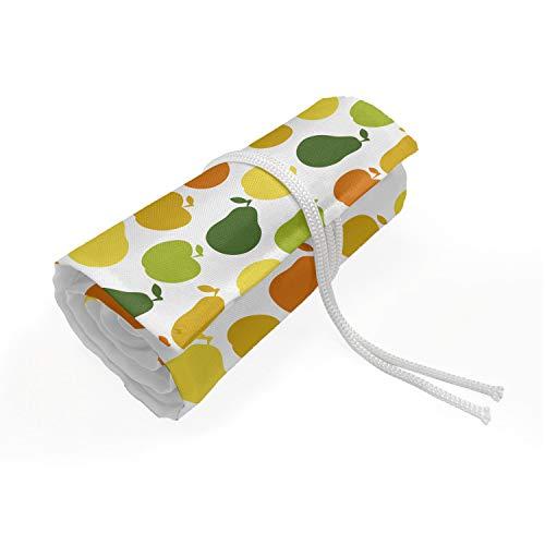 ABAKUHAUS Früchte Mäppchen Rollenhalter, Apple-Birnen Frisch Garten, langlebig und tragbar Segeltuch Stiftablage Organizer, 72 Schlaufen, Hunter Grün Gelb