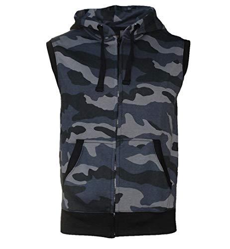 ROCK-IT Apparel® Zipped Hoodie ärmellos für Herren Sleeveless Fitness Kapuzenpullover Männer Sweater Trainingsweste Sweatshirt Tank Top S-4XL Farbe Camouflage Grau/Schwarz XL