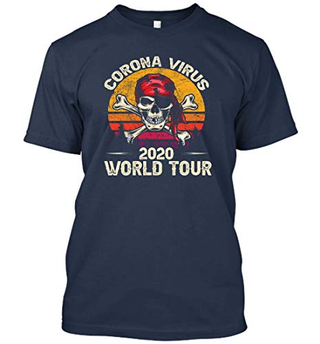 Corona-Virus World Tour 2020 Vintage Cool Designs Graphic T-Shirt (Navy;L)