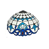 HUIMEIJU,16' Glass Shade Tiffany lampshade Blue Glass Baroque Style Pattern