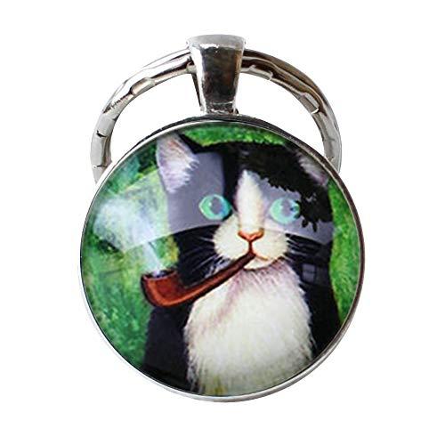 Süße Katze, rauchender Schlüsselanhänger, antiker Anhänger, Foto-Schmuck, handgefertigter Schmuck