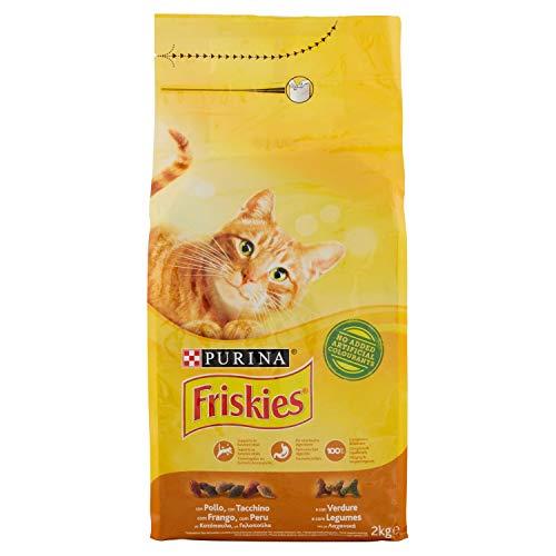 Purina Friskies Adult Crocchette per Il Gatto con Pollo Tacchino e Olive Aggiunte, 2kg