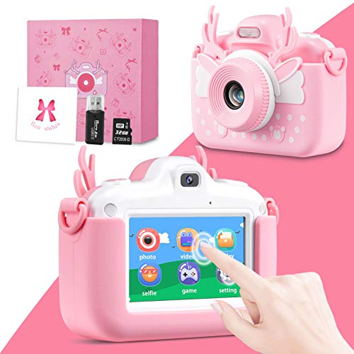 Bruiefpap Kids Camera, 3.0 Inch Touch Screen Children Digital Cameras, 32.0MP Dual Lens Kids Camcorder Video Recorder for 3-12 Year Old Boys Girls Toy, with 32GB TF Card, Wish Card & Card Reader
