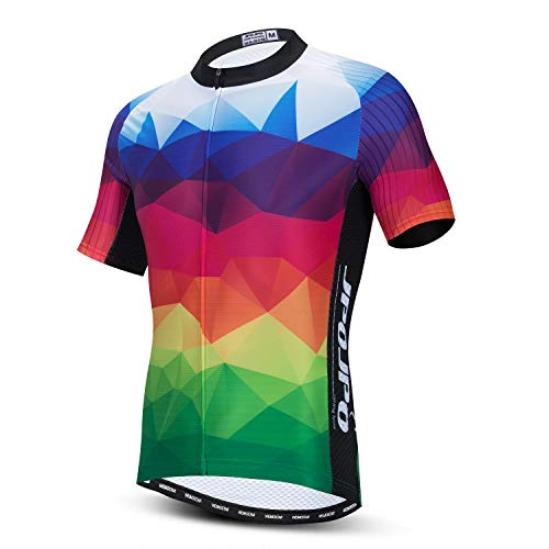 Men's Cycling Bike Jersey Short Sleeve with 3 Rear Pockets,Cycling Biking Shirt Full Zipper Breathable Quick Dry