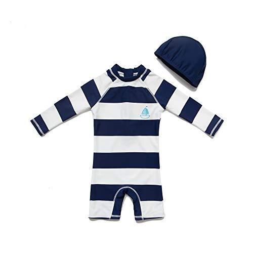 BONVERANO Baby Junge EIN stück Langärmelige-Kleidung UV-Schutz 50+ Badeanzug MIT Einem Reißverschluss(Schwarz-Fringe,3-6M)