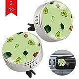 2 Pack Fresh Avocado Zinc Alloy Round Car Essential Oil Diffuser Car Air
