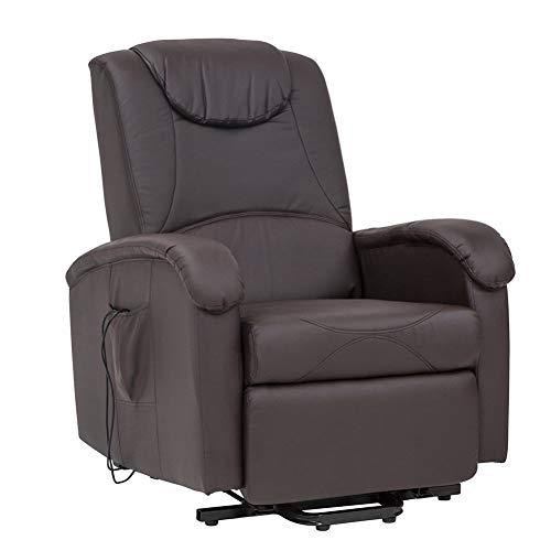 Milani Home s.r.l.s. Poltrona Relax Elettrica Reclinabile Confort Imbottita Marrone per Interno Salotto per Anziani