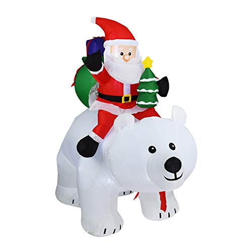 6.9Ft Auto Inflatable Santa Claus Riding A Polar Bear,Blow Up Lighted Christmas Decor,Self-Inflated Xmas Holiday Party Home Yard Garden Decoration