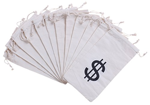 Juvale Money Bag Pouch with Drawstring Closure Canvas Cloth and Dollar Sign Symbol Novelty – $ – Set of 12pcs – (4.7 x 9…