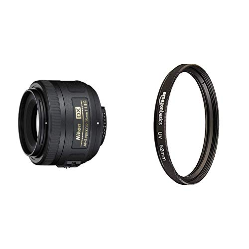Nikon Obiettivo Nikkor AF-S DX 35 mm f/1.8G, [Nital Card: 4 Anni di Garanzia], Nero & Amazon Basics - Filtro di protezione UV - 52mm