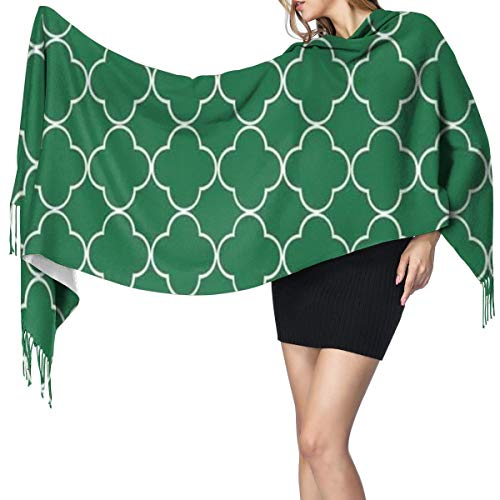 Women Scarves Winter Long Soft Warm Wraps Leaf Clover Flower On Moroccan Trellis Mosaic Pattern Traditional Digital Print Cashmere-like Tassel Shawl Stole Scarf