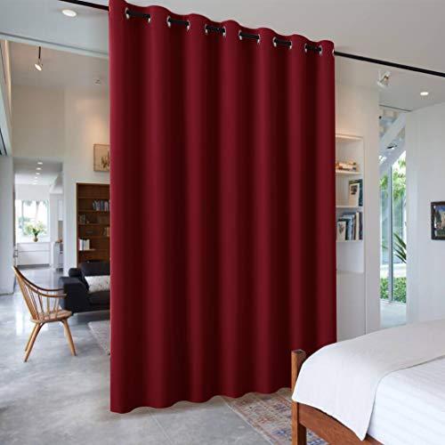 PONY DANCE Raumtrenner Vorhang Blickdicht - Gardinen Rot Blickdicht Schiebevorhänge für Wohnzimmer/Büro Dekoschals, 1 Stück H 210 x B 254 cm, Rot