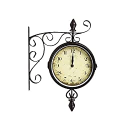 Truu Design, 8 inches, Black Vintage Metal Double-Sided Wall Bistro Clock, 8 x 13 inches
