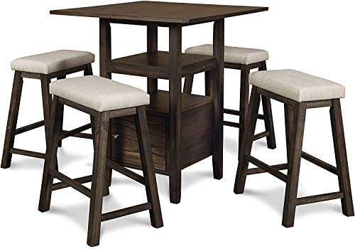 New Classic Furniture Derby Counter Table & 4 Stool Set, Chocolate
