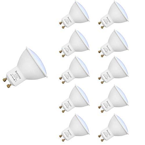 GU10 LED Lampen, Bomcosy 7W 600 Lumen LED Leuchtmittel, 6000 Kelvin Tageslichtweiß, ersetzt 60W Halogenlampen, 120°Strahlwinkel Reflektorlampen, 100-240 Volt, 10er Pack