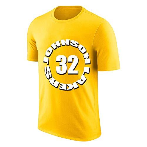 W&F Earvin Johnso # 32 Camisetas para Hombre Cuello Redondo Algodón Manga Corta Jersey de Baloncesto de recreación Adecuado para jóvenes y Adultos, S-XXXL (Color : Amarillo, Size : XXX-Large)