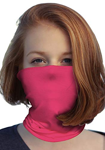 Face Mask Bandana Neck Gaiter Made in USA for Dust Outdoors Festival Activities (One Size, Fuchsia)