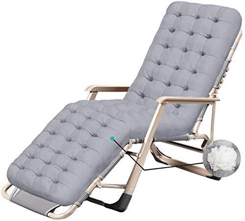 LZMXMYS Silla de salón al aire libre, sillas reclinables plegable al aire libre silla de salón de la gravedad cero Silla del patio de la cubierta cómoda Oficina al aire libre Playa Gris reclinable Sop