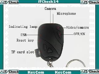 ITC31920 Mini Spion Schlüsselanhänger mit Kamera und Kartenslot