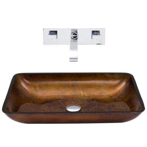 VIGO Rectangular Russet Glass Vessel Bathroom Sink and Titus Wall Mount Faucet with Pop Up, Chrome