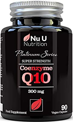 Co Enzyme Q10 - Pure Ubiquinone, CoQ10 - Triple Strength 300mg - 90 Vegan Capsules - 3 Month Supply, Naturally Fermented CoQ10 - Made in The UK