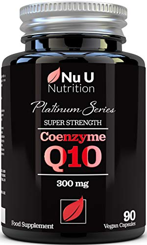 Co Enzyme Q10 - Pure Ubiquinone, CoQ10 - Triple Strength 300mg - 90 Vegan Capsules - 3 Month Supply, Naturally Fermented CoQ10