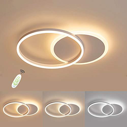 Moderna LED Lámpara de Techo, 36W 3600lm Aluminio LED Luz de Techo, Regulable con Control Remoto, 3000K - 6000K, Luces de Techo de la Sala de Estar, Pasillo, Dormitorio, 2 Anillo 50 * 40 * 6cm