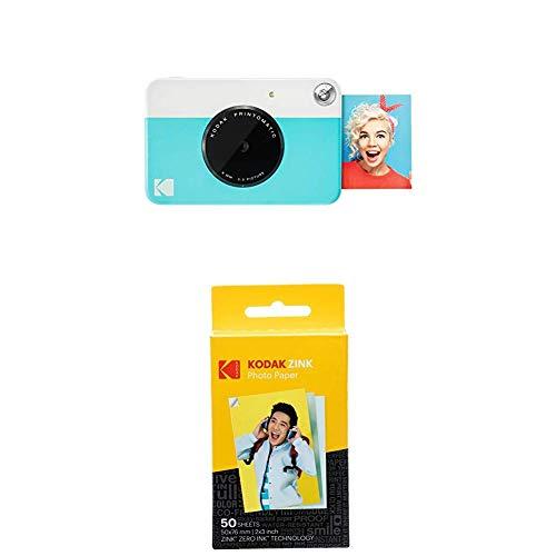 KODAK PRINTOMATIC Digitale Sofortbildkamera, Vollfarbdrucke auf Zink 2x3-Fotopapier mit Sticky-Back-Funktion - Drucken Sie Memories Sofort (Blau), 50-Pack-Papierbündel